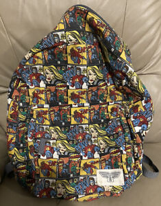 Vintage Backpack Comic Book Collage Kids School Bag Great Condition