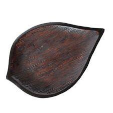 Acacia Carved Dark Wood Leaf Platter Tray  14 X 9.5