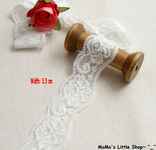 White Floral Embroidery Scalloped Stretch Wavy Galloon Lace Trim (3.5 cm) — 5 M