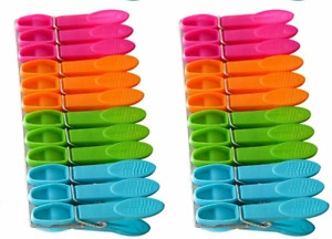 LARGE CLOTHES PEGS Washing Line EXTRA STRONG PLASTIC GRIPS Spring Loaded + wood