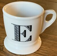 Anthropologie Monogram Initial Letter E Shaving Style Mug 12oz Cup
