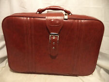 "Vintage Red Leather Suit Case - 22"" X 16"" X 6 1/2"