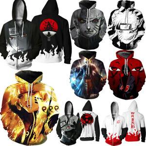 Anime Naruto3D Frauen Männer Hooded Pullover Sweatshirt Hoodie Jacke Mantel Tops
