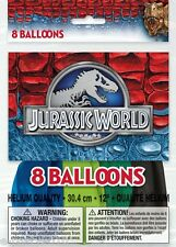 JURASSIC WORLD LATEX BALLOONS (8) ~ Birthday Party Supplies Dinosaurs Movie Blue
