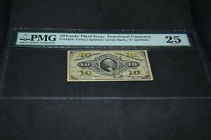 PMG Graded 10 Cents Third Issue Fractional Currency Banknote 25VF p108b