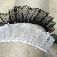 Lovely white and black ruffled lace trim - price by the yard /select color/