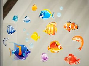 Tropical Fish Double-Sided Window Cling Stickers