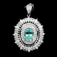 Oval Neon Blue Apatite 9x7mm Cz 14K White Gold Plate 925 Sterling Silver Pendant