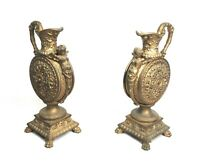 Antique Pair Cast Metal Ornate Art Nouveau Cherubs Figural Ewers Urns Garniture