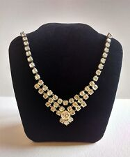 Vintage 1950s Clear Sparkly Rhinestone Claw Set Necklace Bridal Special Ocassion