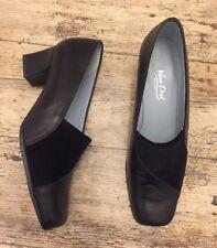 Lovely VAN DAL Black Leather & Cord Block Heel Court Shoes ~UK 7D~ Square Toe