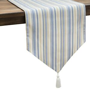 Croscill 90 Inch Table Runner Janine 14x90 Country Blue Stripes New Free Shippin