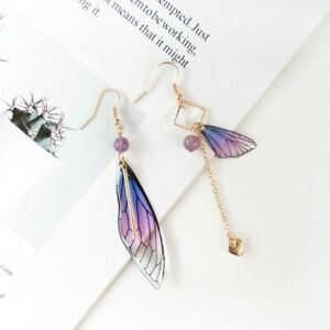 Butterfly Wings Drop Dreamy Blue Gradient Color Asymmetric Long Earrings Jewelry