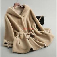 Womens Warm Hooded shearling Lamb Fur Coat Jacket Sheepskin Parka Cashmere New