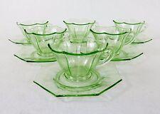 Set of 6 Hexagon Tea Cups & Octagon Saucers, Fancy Green Depression Glass, 1930s