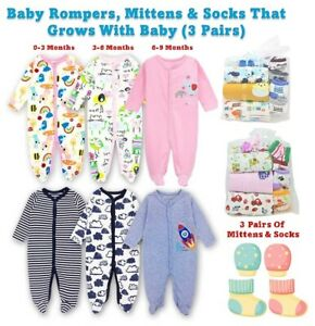 Infant Baby Boys Girls 3PC Rompers Suit Pack of 3,6,9 Month Outfit Set Kids UK