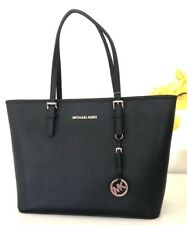 NWT Michael Kors Bag Jet Set Travel Top Zip Black Leather Tote Handbag $278