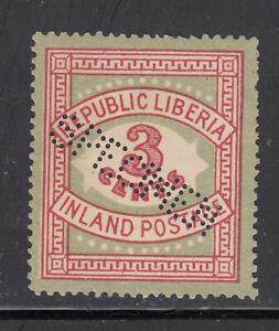 Liberia # 64 MINT SPECIMEN in Perfin 1897 Inland Postage