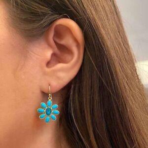 Beautiful Gold Turquoise Dangle Earrings Women Flower Wedding  Earrings A Pair