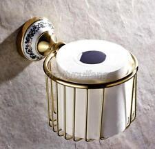 Gold Polished Brass Bathroom Toilet Paper Holder Roll Tissue Holder Rack Pba257