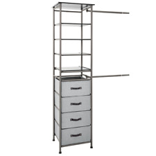 Modular Closet Storage System 4 Shelves Collapsible Drawers Faux Leather Handles