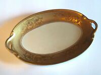 VTG Pickard Gold Handpainted China Handled Oval Serving Platter Tray Scroll RARE