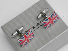 UNION JACK-GREAT BRITIAN 20mm HOPE & GLORY Silver Style METAL CUFF LINKS in BOX