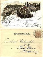 1895 KARLSBAD Gruss aus Litho-AK Karlovy Vary Schlossbrunn, Alte u. Neue Wiege