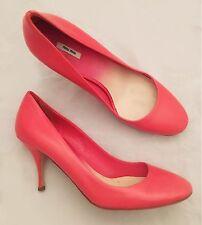 Women's - MIU MIU - Classic Pink Coral Leather High Heel Pumps 7.5 38