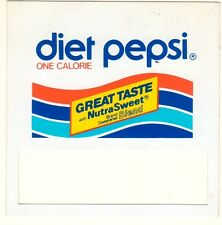 "Diet Pepsi Nutrasweet Vending Machine Insert, Push Button Style, 3 1/2"" x 3 1/2"""
