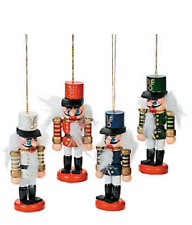 Wooden Nutcracker Ornaments 4 Piece Christmas Decoration