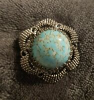 Vintage Silvertone Blue dome Stone Faux Turquoise Brooch Pin ornate