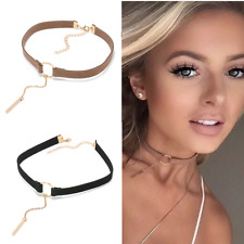 90'S Punk New Fashion 4 Colors Leather Choker Necklace Gold Plated - Top Seller