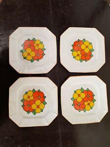Set of 4 Vintage Retro Orange & Yellow Flowers Square Sandwich Plates Japan