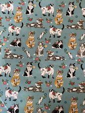"""100% Cotton Fabric FQ 18""""x 21"""" Fat Quarter Cats Floral Green"""