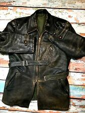 SUPER RARE 1950`S BMW MODEL 307 LEATHER HALF BELT MOLESKIN COTTON LINED JACKET