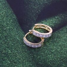 """9ct 9K Yellow & White """"Gold Filled """" White Stones Small Oval Hoop Earrings. 15mm"""