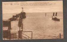 unmailed post card Zeebrugge Mlole lighthouse guns and ship Brussels sunk WWI