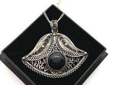Vintage Large Sterling Silver Filigree Bellflower & Onyx Pendant Necklace