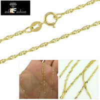 """14K Yellow Gold Solid Mens Womens 1.6MM Singapore Link Chain Necklace 16"""" - 24"""""""