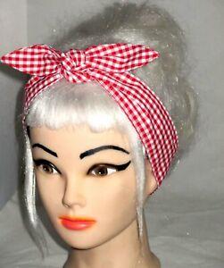 red and white gingham skinny headband bandana head scarf dolly bow hair wrap tie