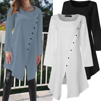 Plus Size Women Loose Tunic Blouse Long Sleeve Asymmetric Top Button Down Shirts