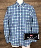Vineyard Vines Performance Men's Slim Fit Blue Plaid Long Sleeve Murray Shirt M