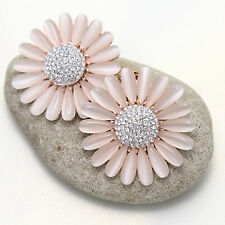 Pale Pink Daisy Flower Rhinestone Crystal High Heel Shoe Clips Decoration