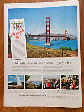 1956 United Aircraft Ad Fly Family Fly San Francisco The Golden Gate Bridge