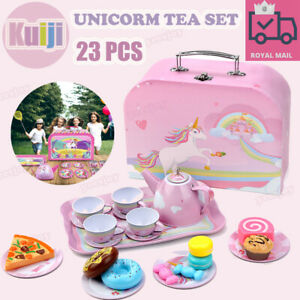 Childrens Kids Toy Metal Tea Set Pretend Role Play Kitchen Toy Teapot Cups Cake