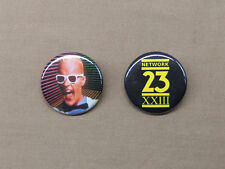 """Max Headroom NETWORK 23 Logo & Max in White Suit Buttons 1.25"""" Cyberpunk TV"""