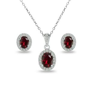 Oval Halo Created Ruby & White Topaz Necklace & Stud Earrings Set in 925 Silver