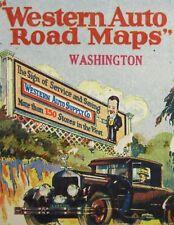 Vintage Washington State Road Map Western Auto Supply Seattle Tacoma 1920-30's