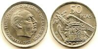 Spain-Estado Español. 50 Pesetas 1957*59. Madrid. SC/UNC. Niquel 12,5 g.
